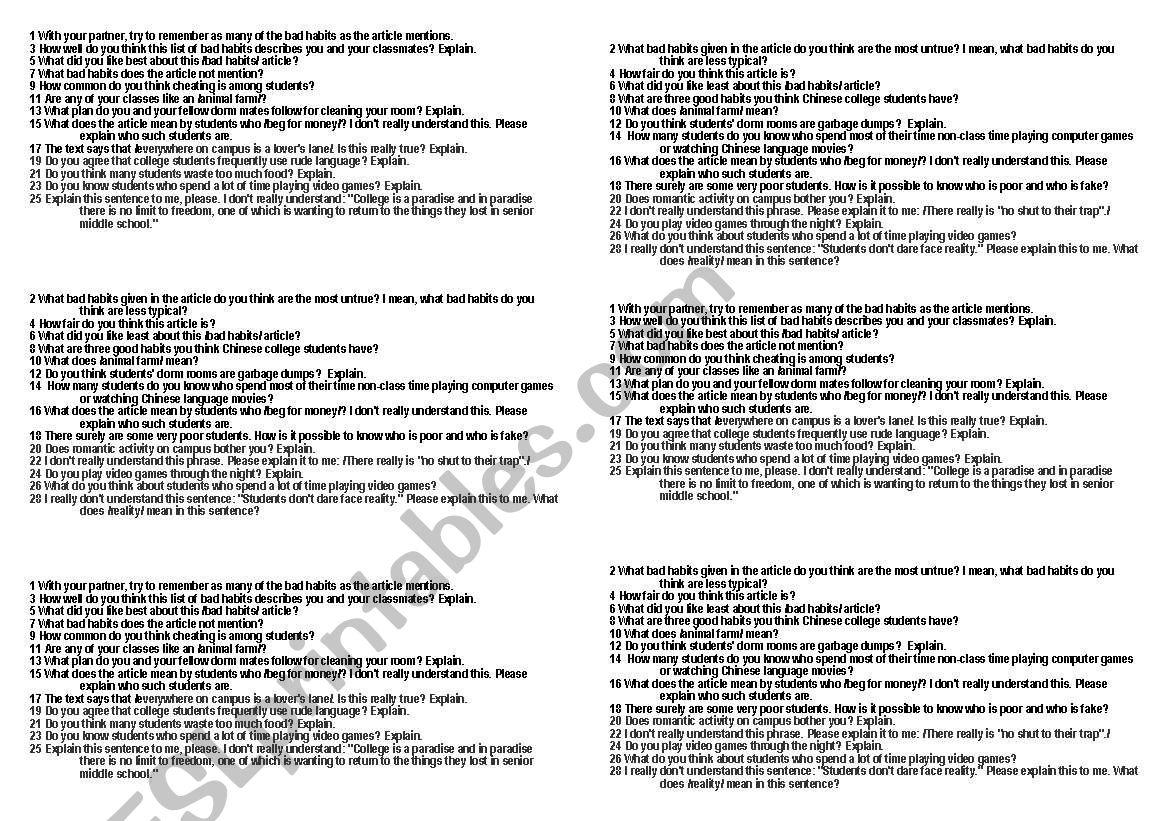 English Worksheets Students Bad Habits