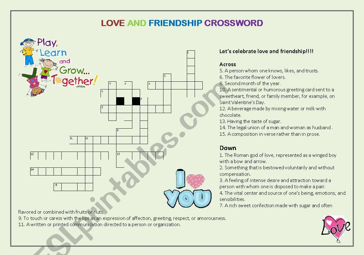 Love And Friendship Crossword
