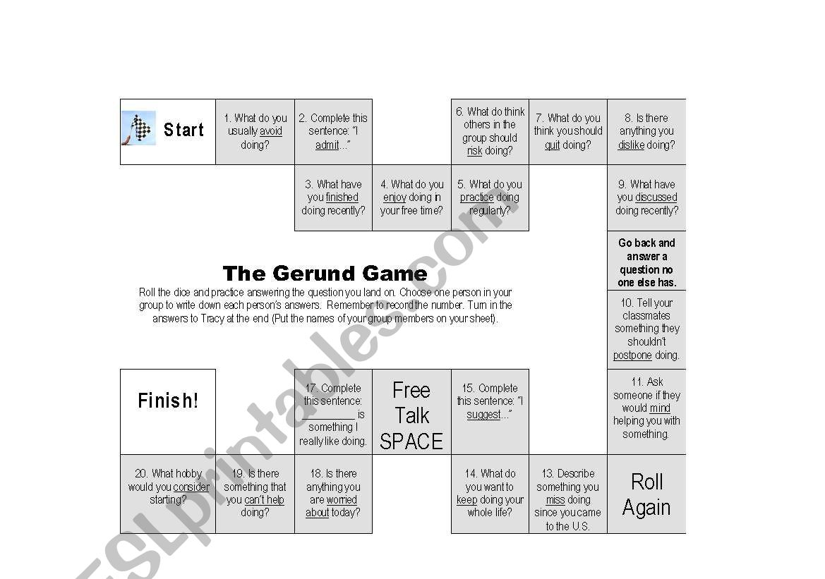 The Gerund Conversation Game