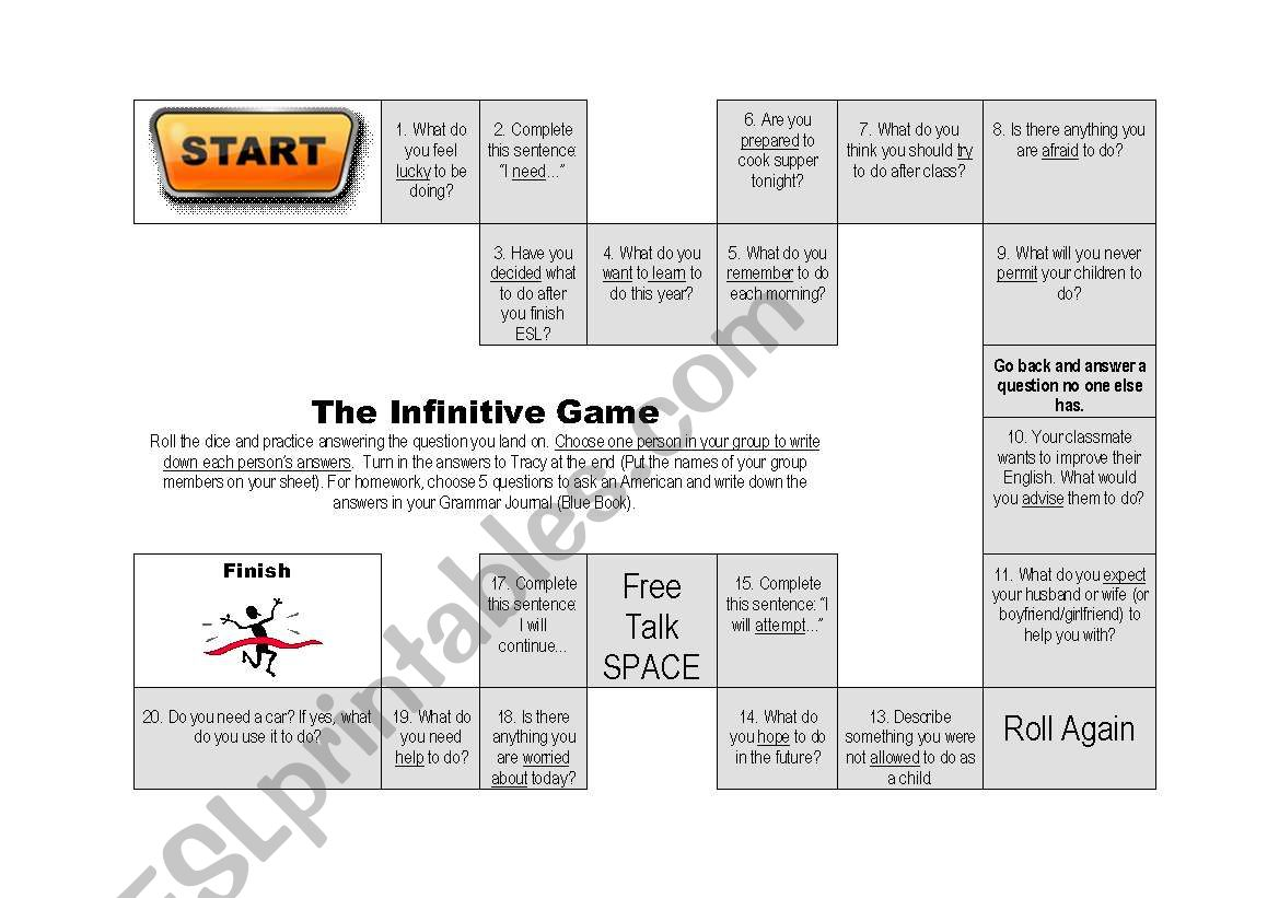 The Infinitive Conversation Game