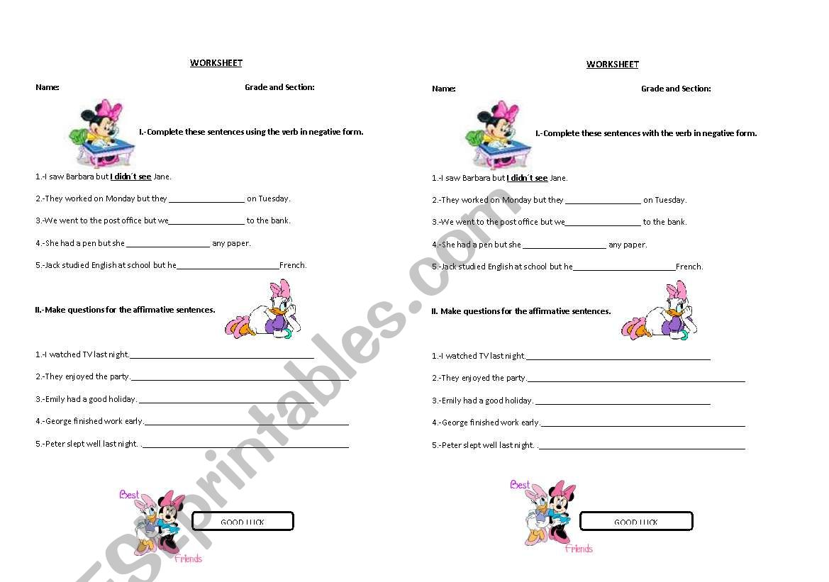 English Worksheets Negative And Interrogative Form Of