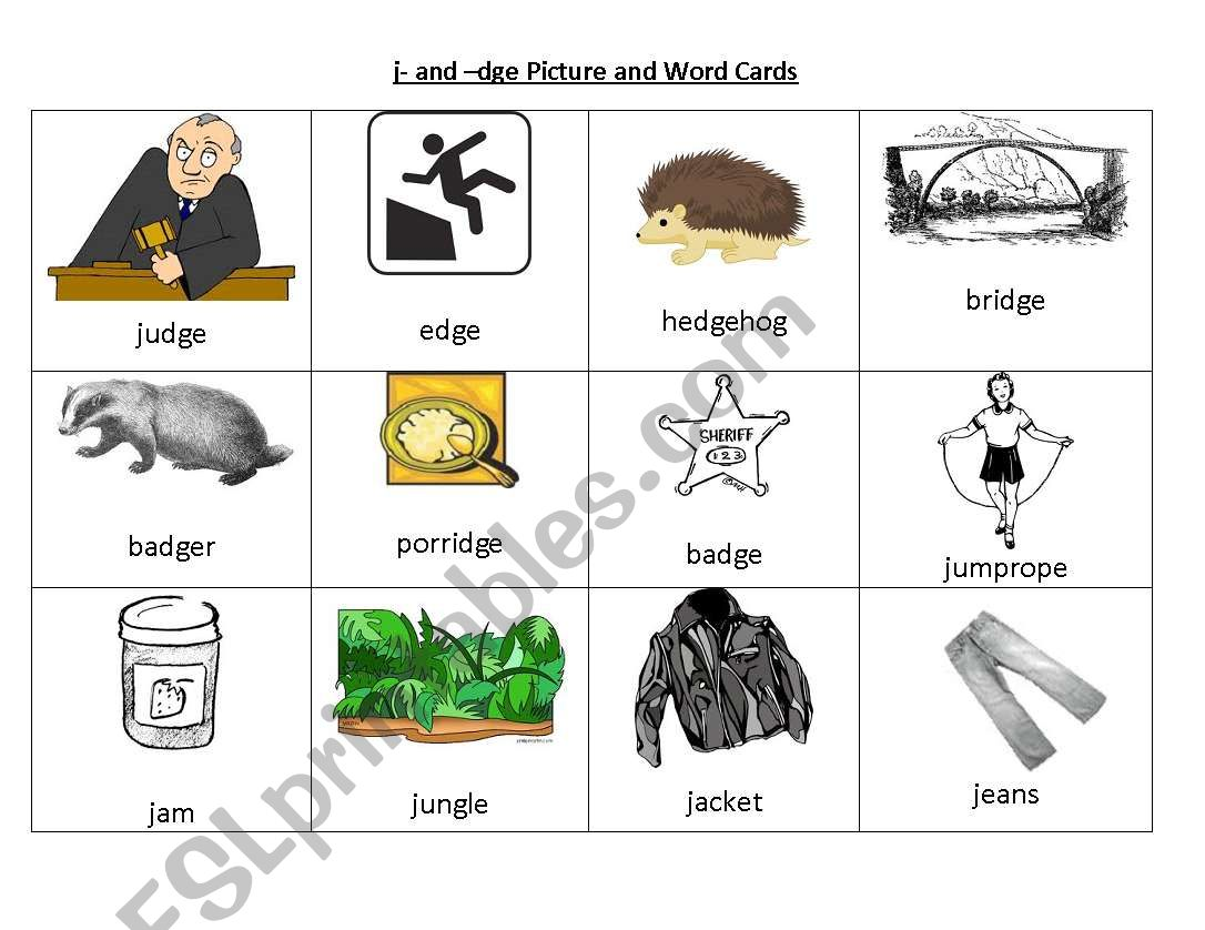 English Worksheets J And Dge Picture And Word Cards