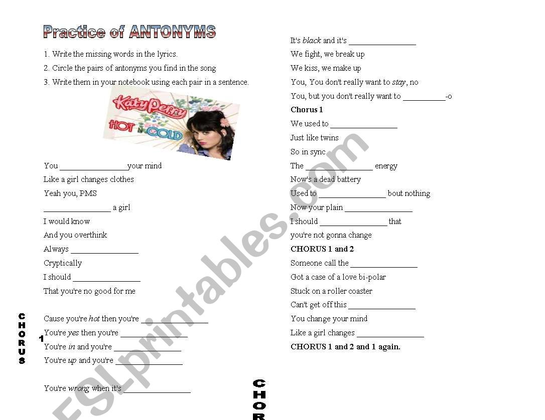 English Worksheets Katy Perry Hot And Cold Worksheet Antonyms