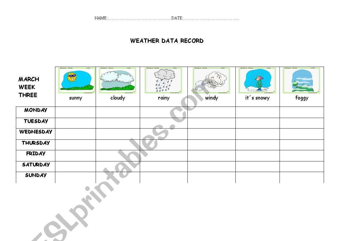 English Worksheets Weather Activity