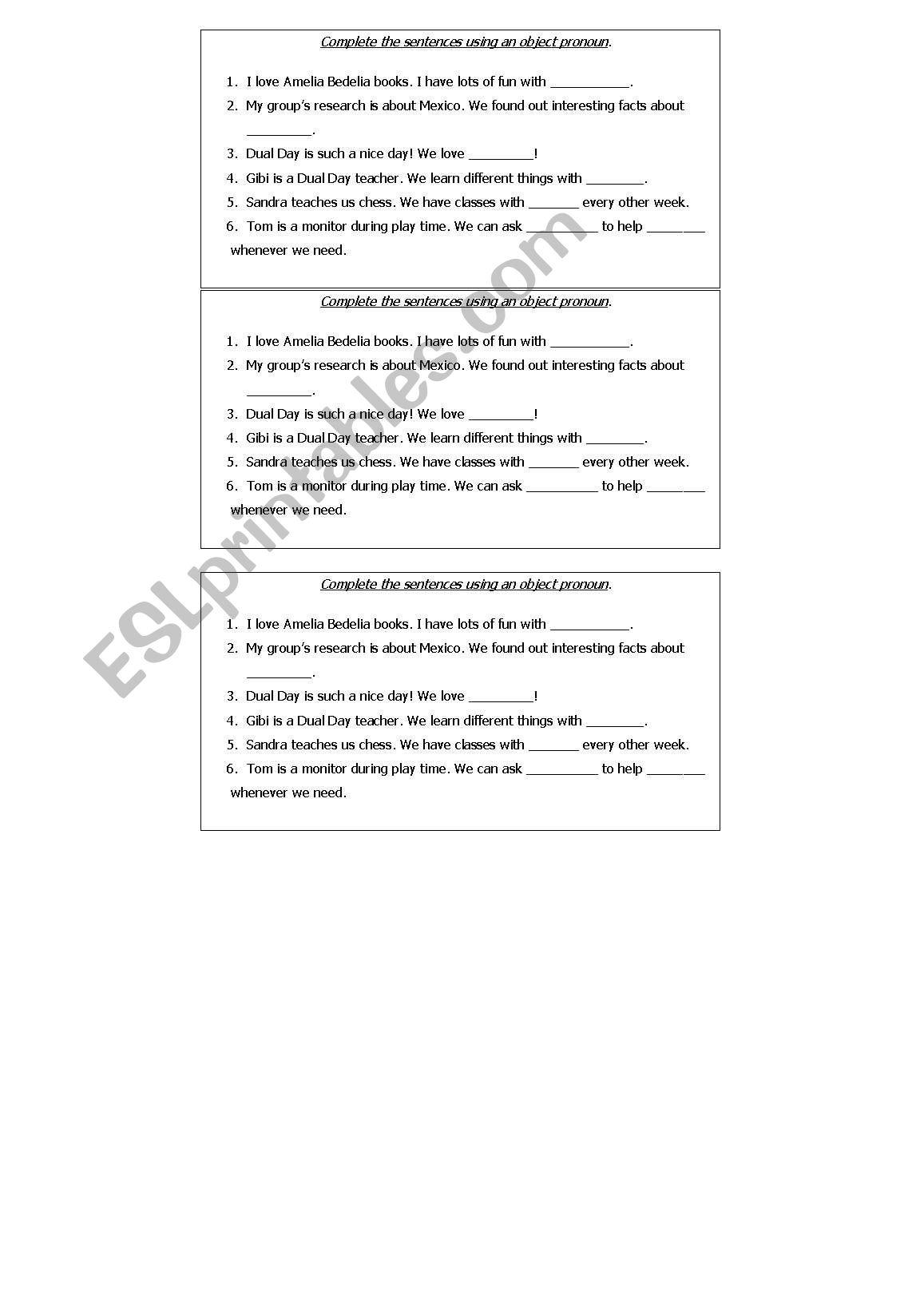 English Worksheets Object Pronoun