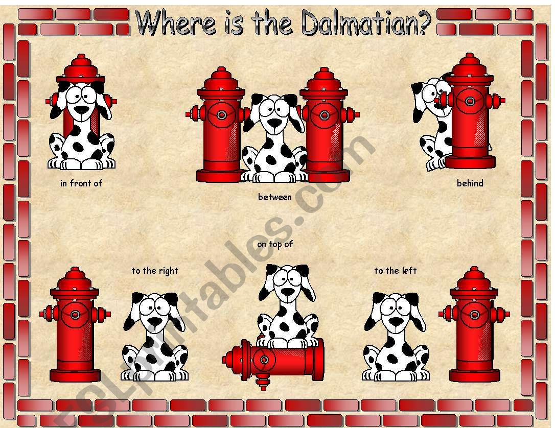 Where Is The Dalmatian Preposition Gameboard With Poster