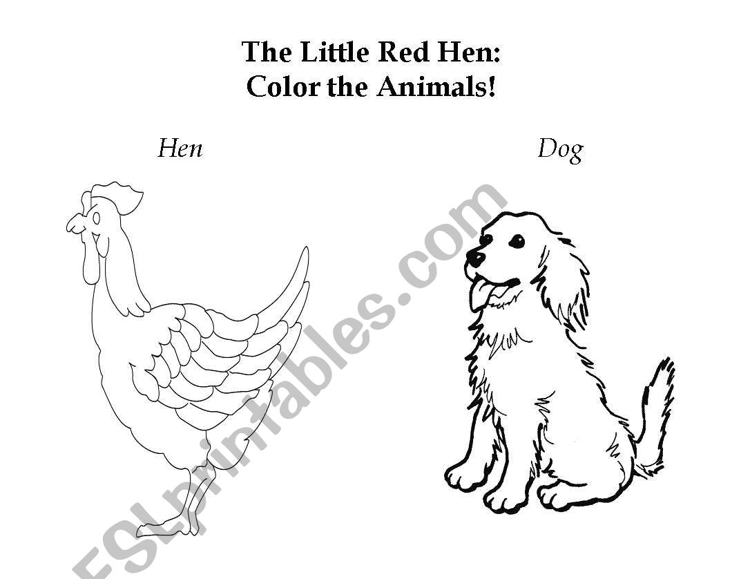 English Worksheets Color The Animals