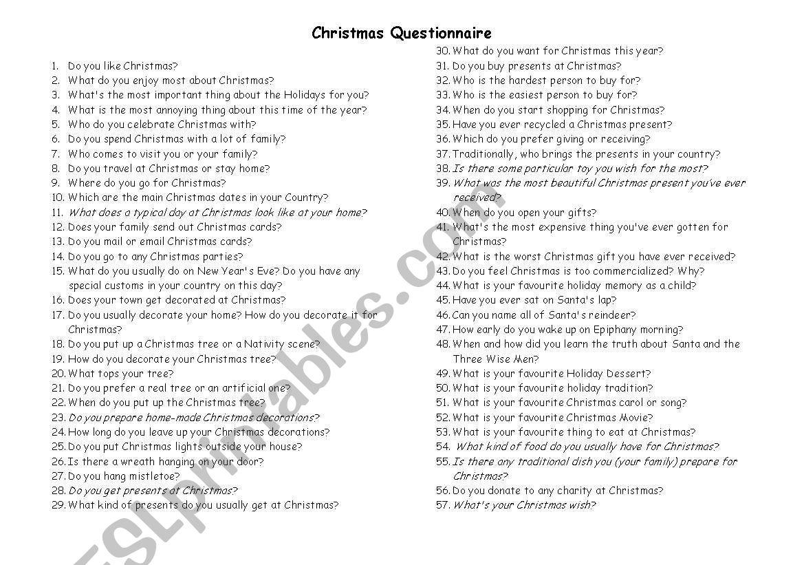 Christmas Questionnaire