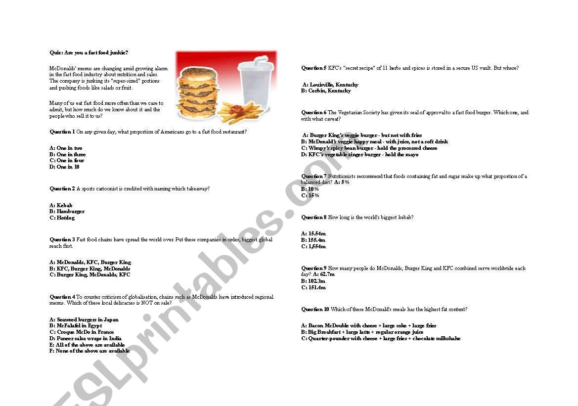 English Worksheets Are You A Fast Food Junkie
