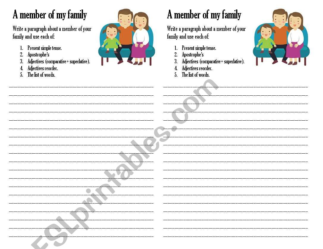 A Member Of A Family Writing Worksheet