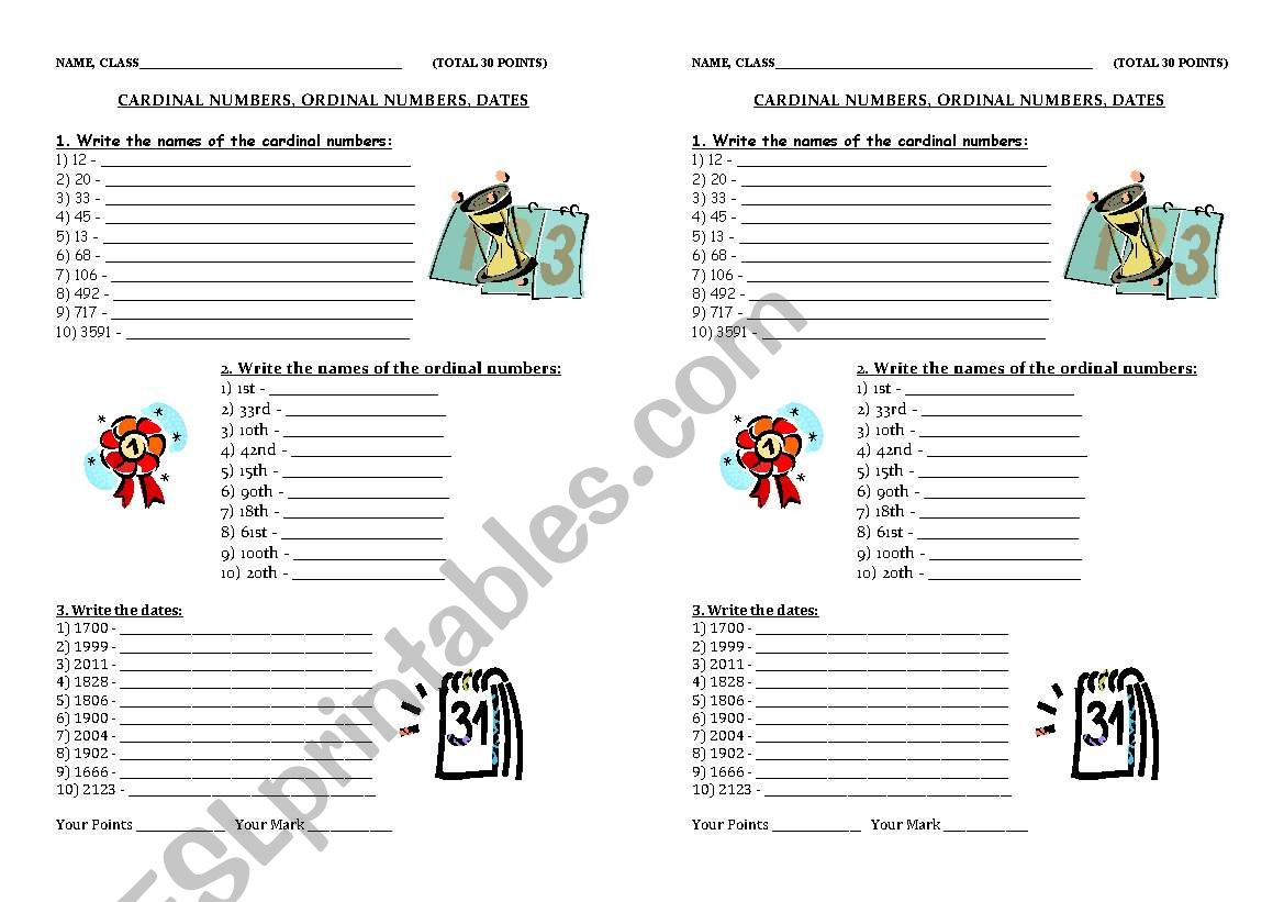 Cardinal And Ordinal Adjectives Worksheets For Grade 2