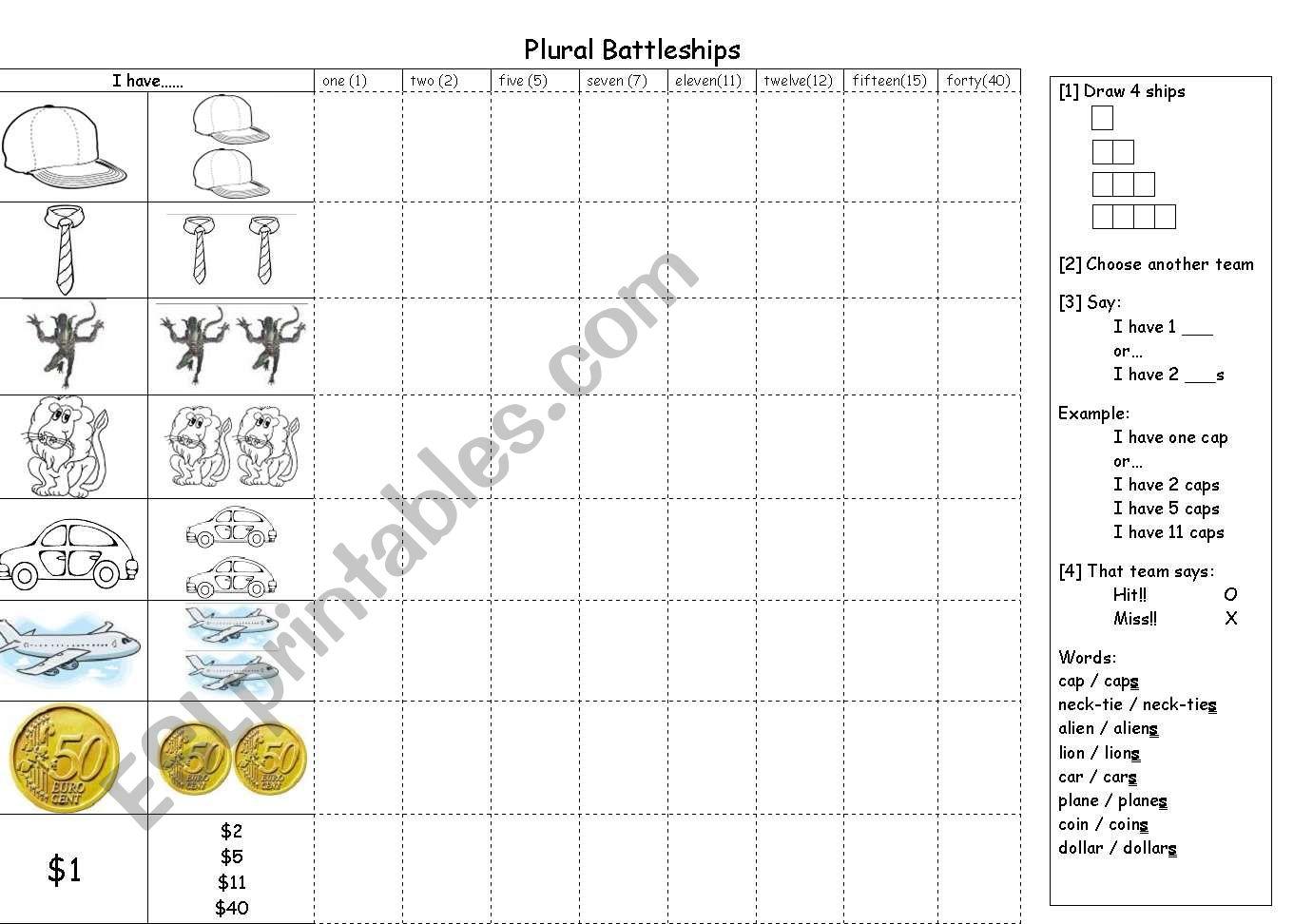 English Worksheets Plural Single Battleships