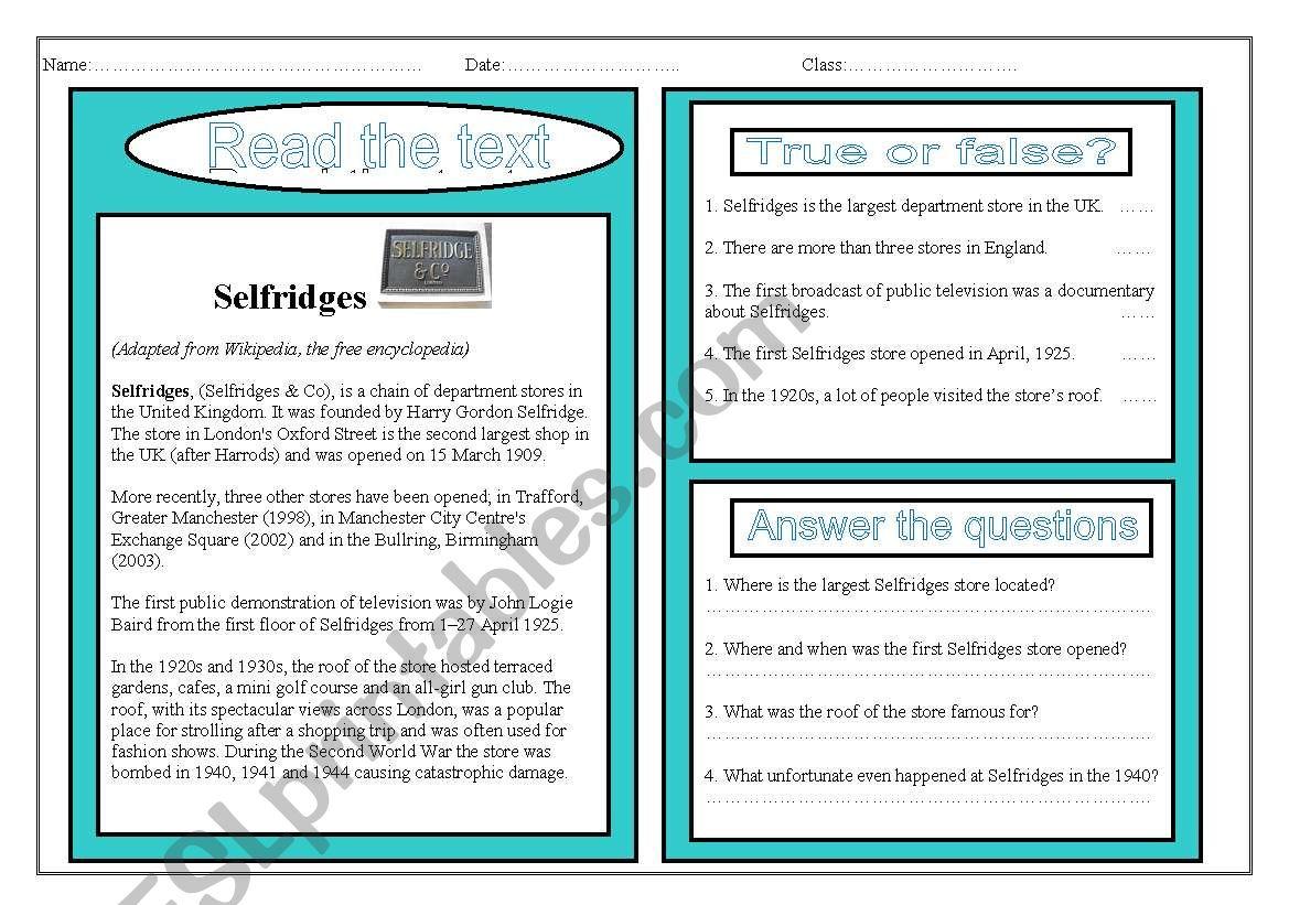 Esl Pre Intermediate Reading Comprehension Worksheet