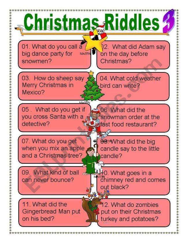 Christmas riddles for Everyone - ESL worksheet by dturner
