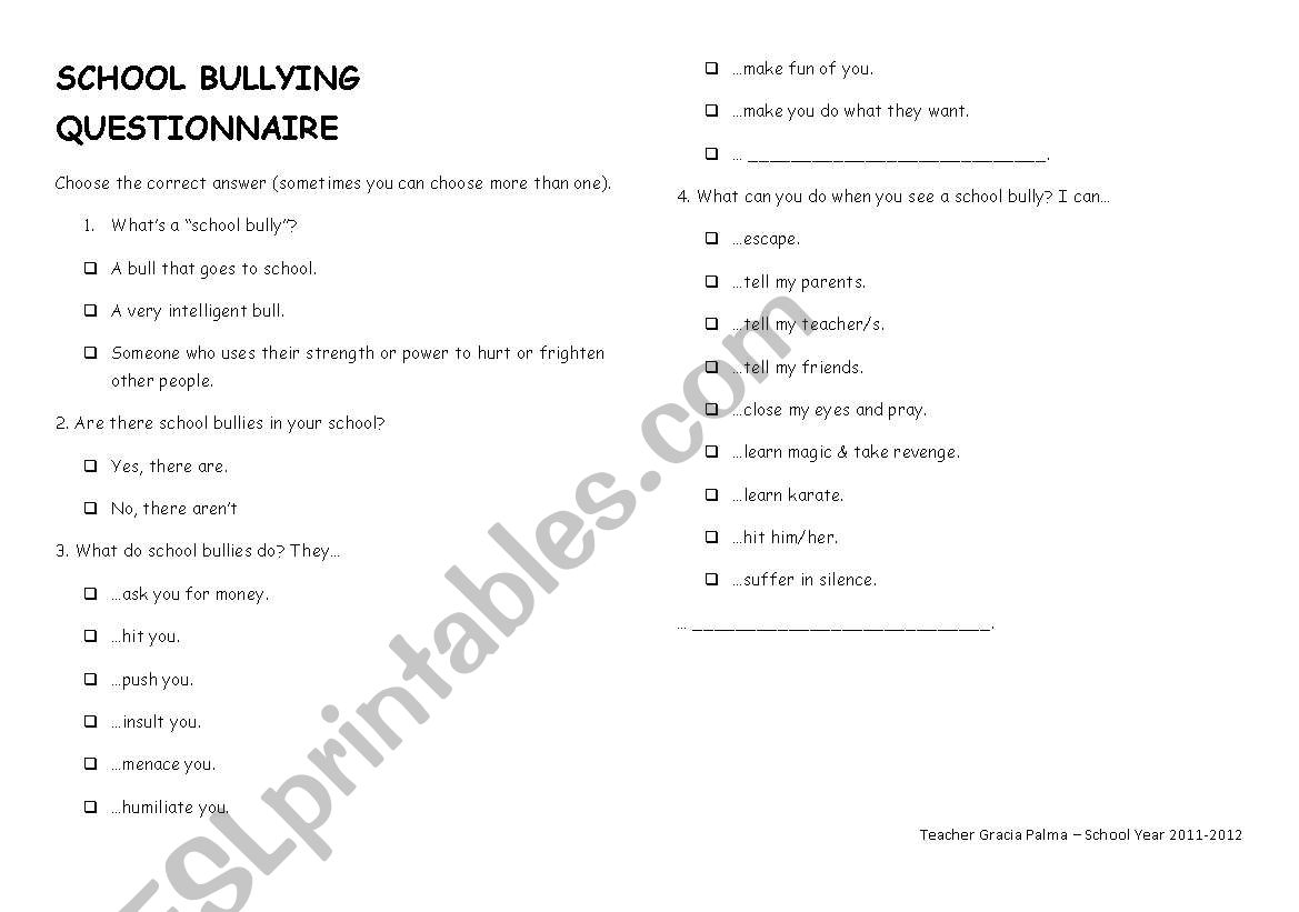 English Worksheets School Bullying Questionnaire