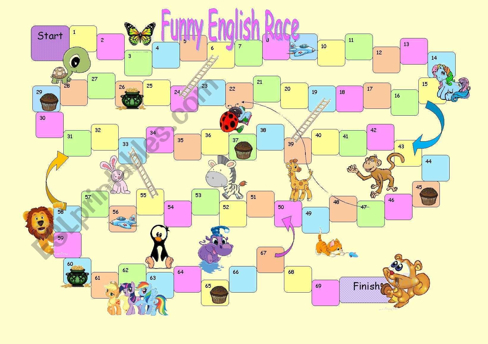 Board Game Funny English Race