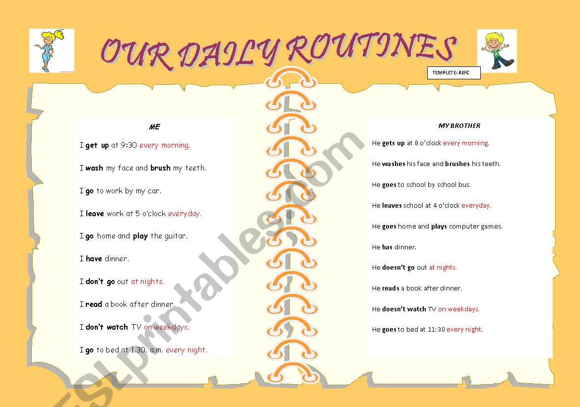 Present Simple Daily Routines