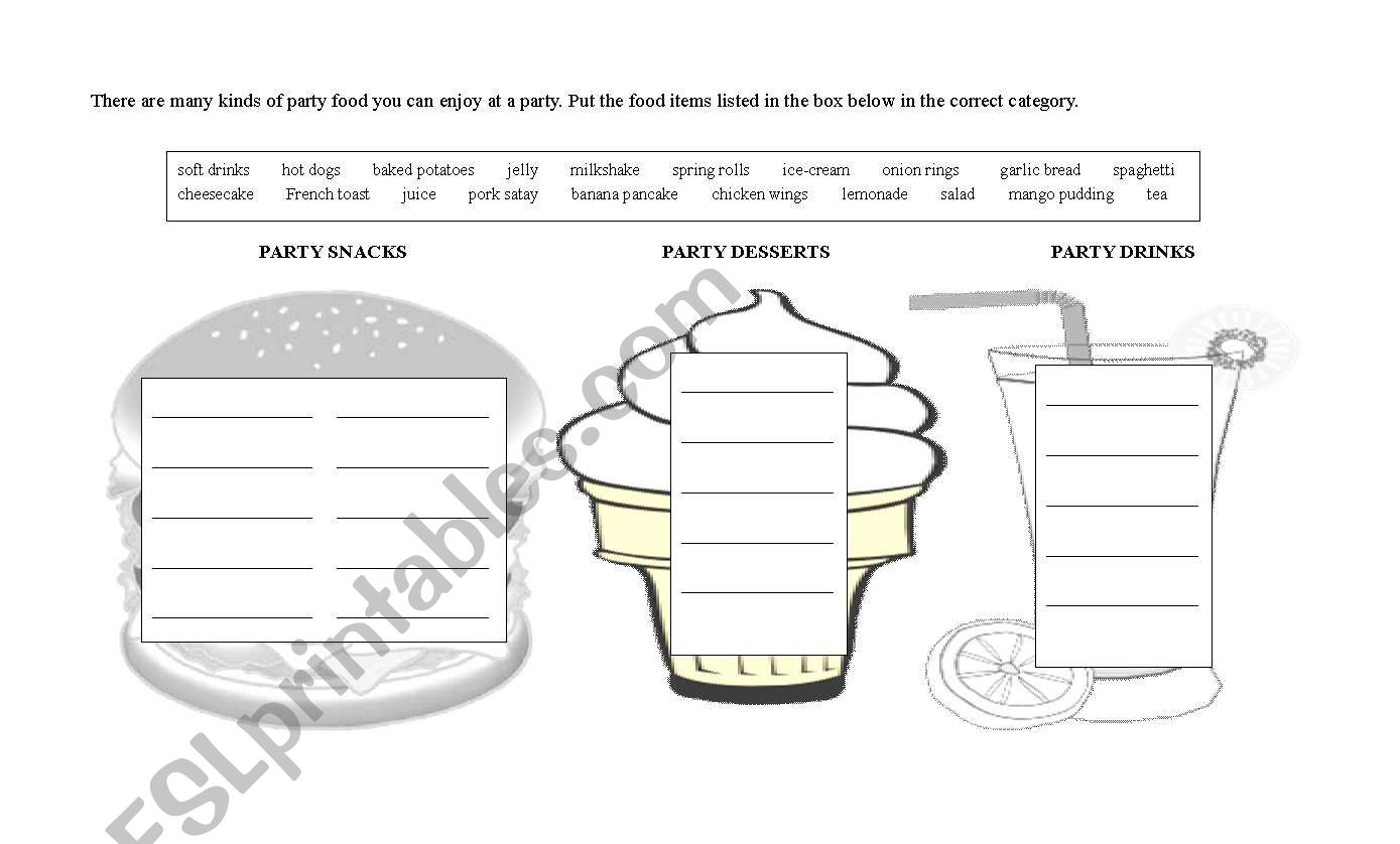 Party Food Items Categorization
