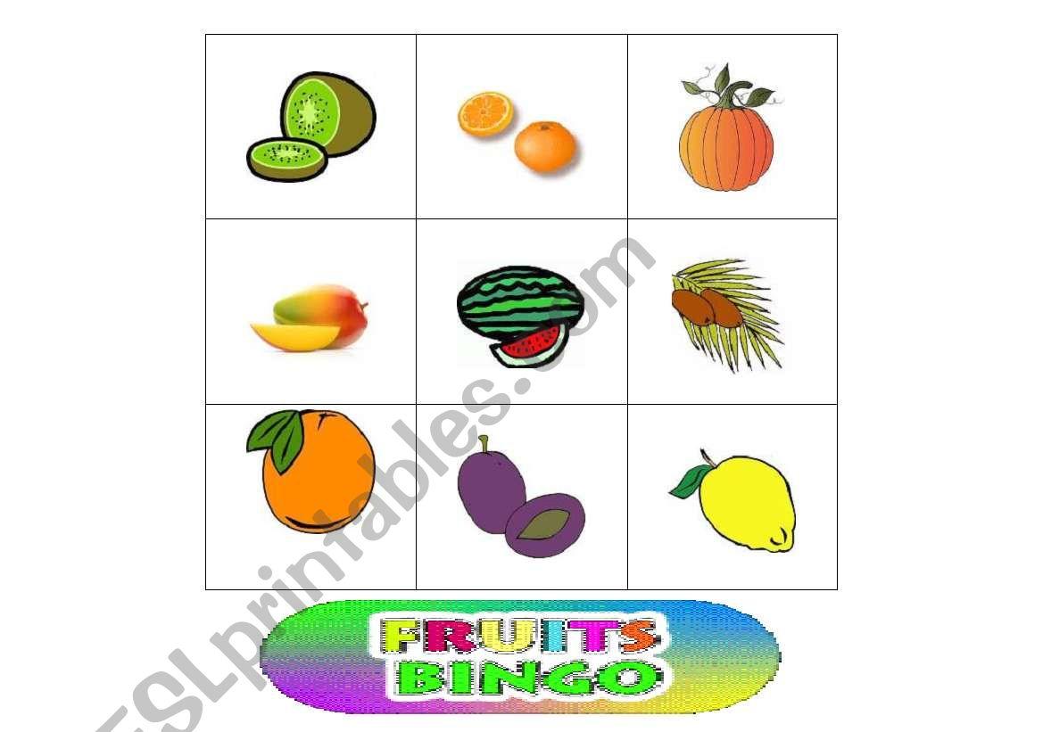 12 Fruits Bingo