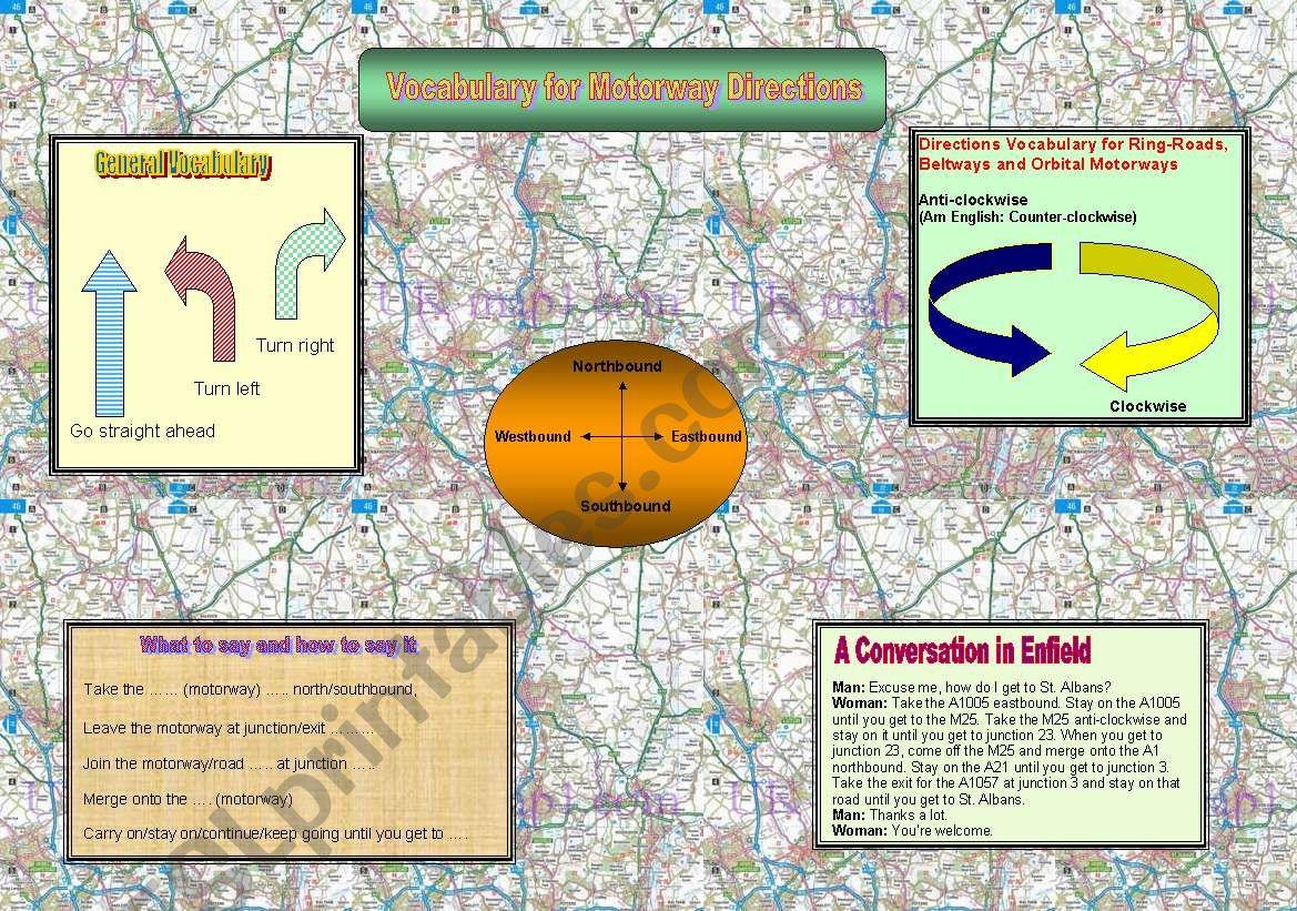 Motorway Directions Vocabulary