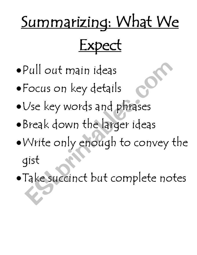 English Worksheets Summarizing