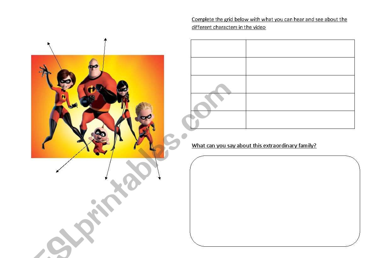 English Worksheets The Incredibles What Can They Do