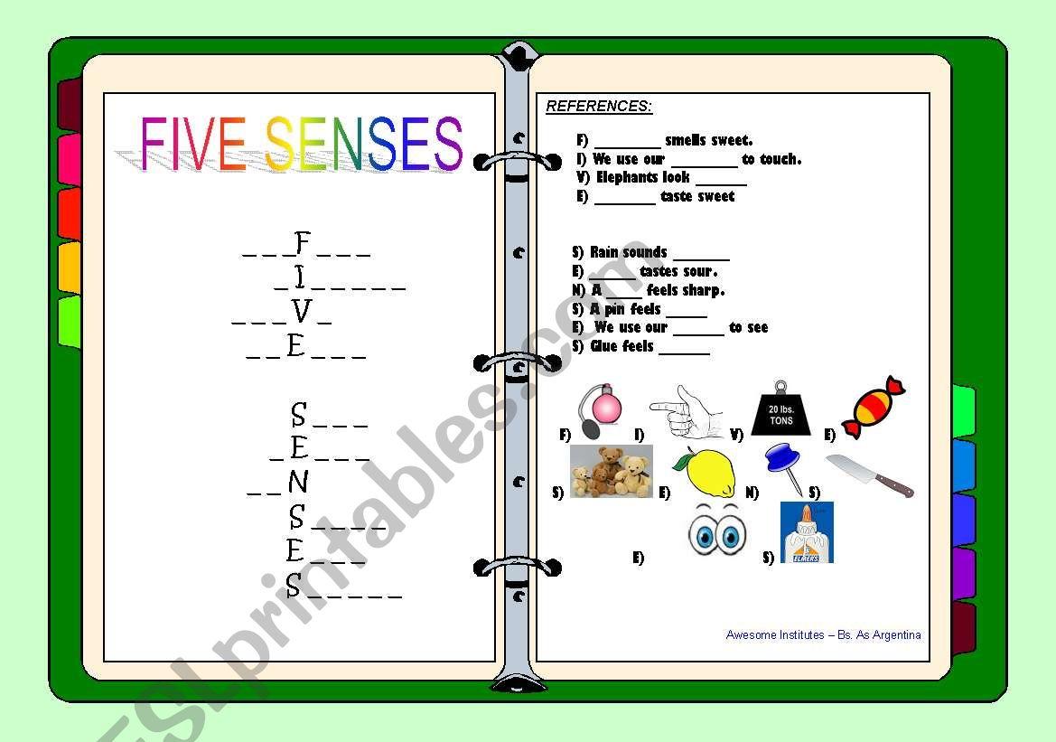 English Worksheets Five Senses Crossword