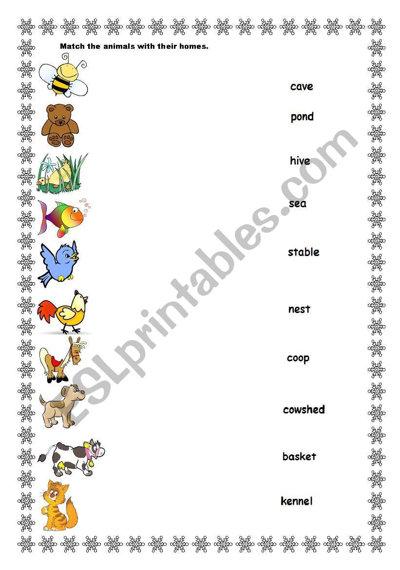 Animals And Their Homes Esl Worksheet By Teapot72