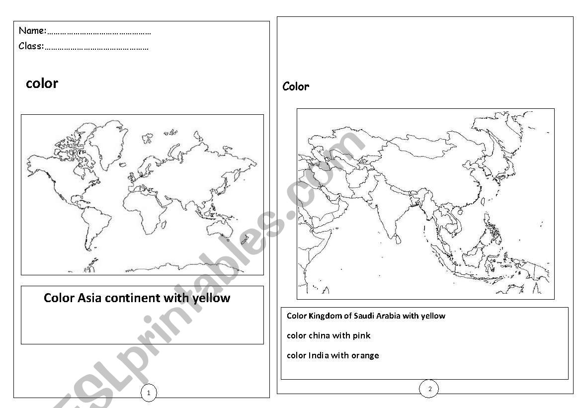 English Worksheets Asian Countries