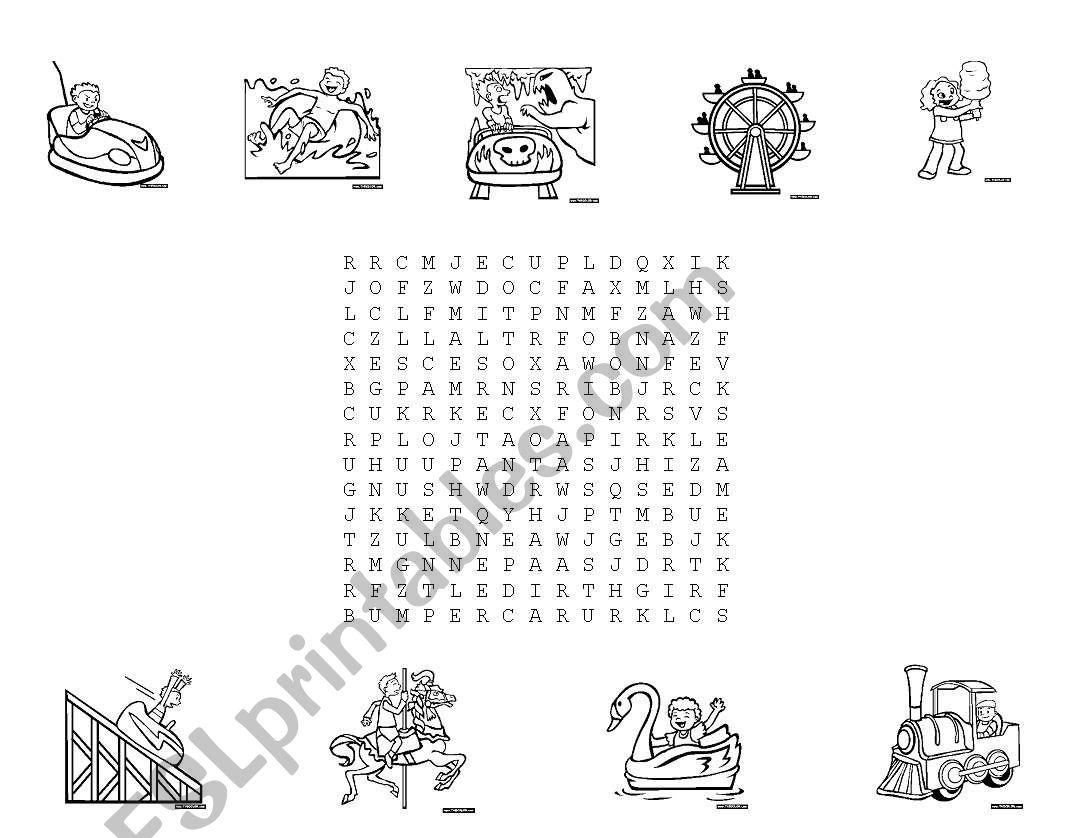 English Worksheets Amusement Park Puzzle