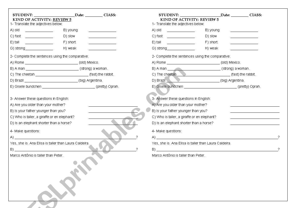 English Worksheets Review 5 8th Grade Adjectives