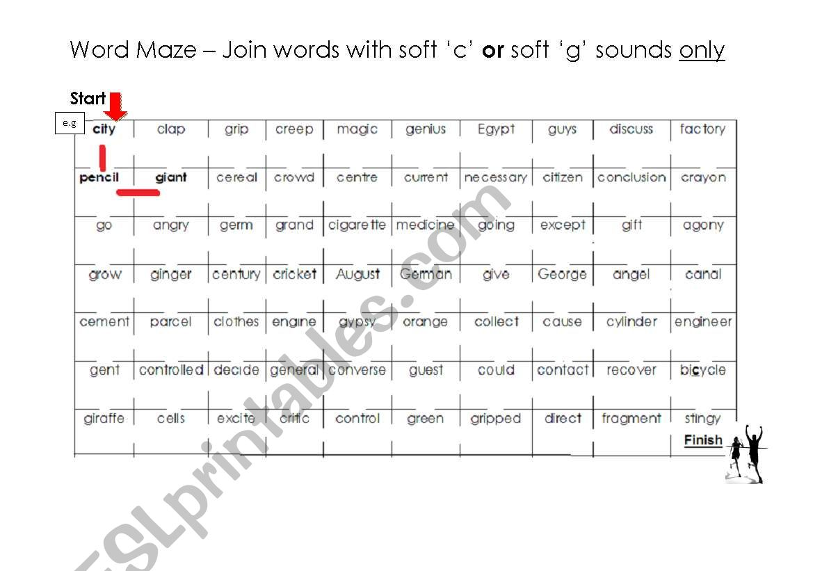 Soft C And G Word Maze And Answer Key