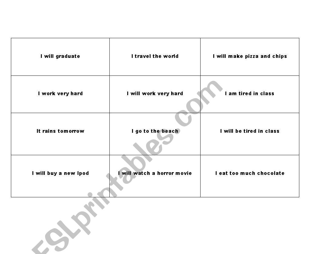 English Worksheets First Conditional Bingo