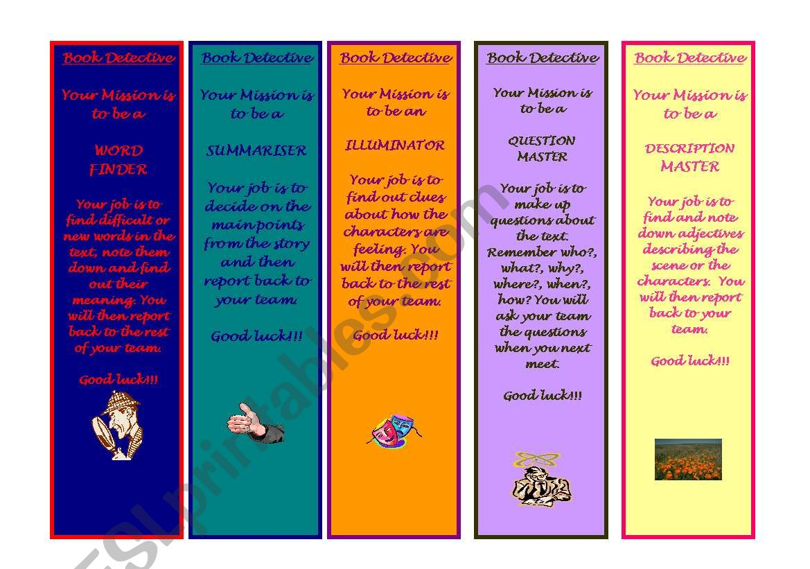 Book Detective Bookmarks For P2 And P3