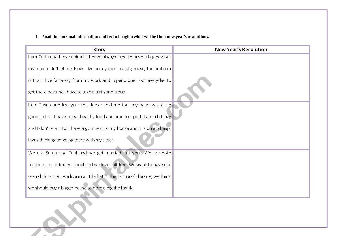 English Worksheets New Year S Resolutions