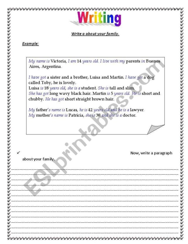 Write letter about your family - ESL worksheet by valhns