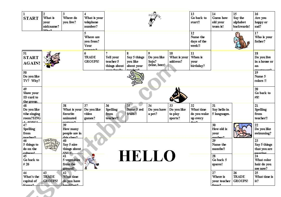 Introductions Gameboard
