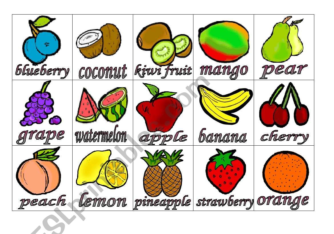 Fruits Flashcards 1 Small