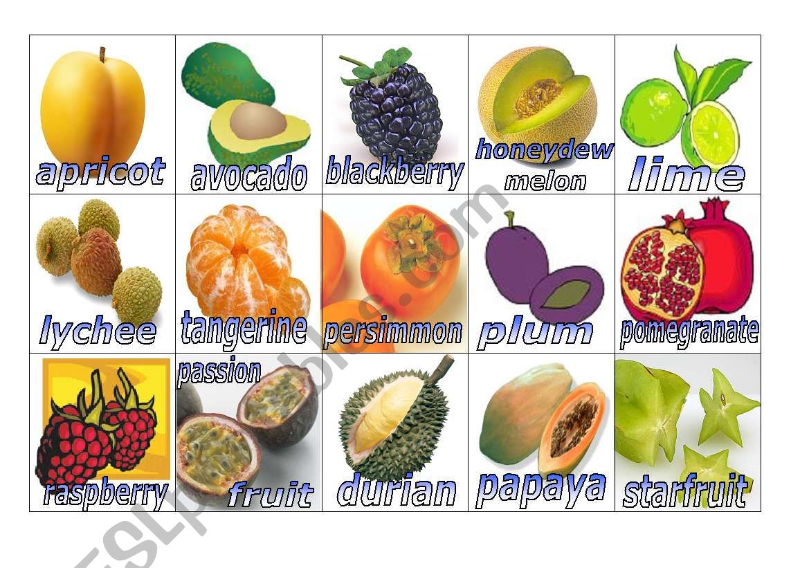 Fruits Flashcards 2 Small
