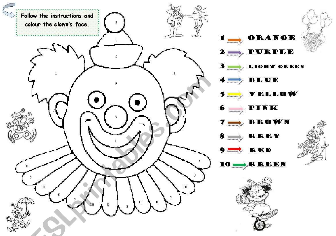 The Clown S Face Vocabulary Colours