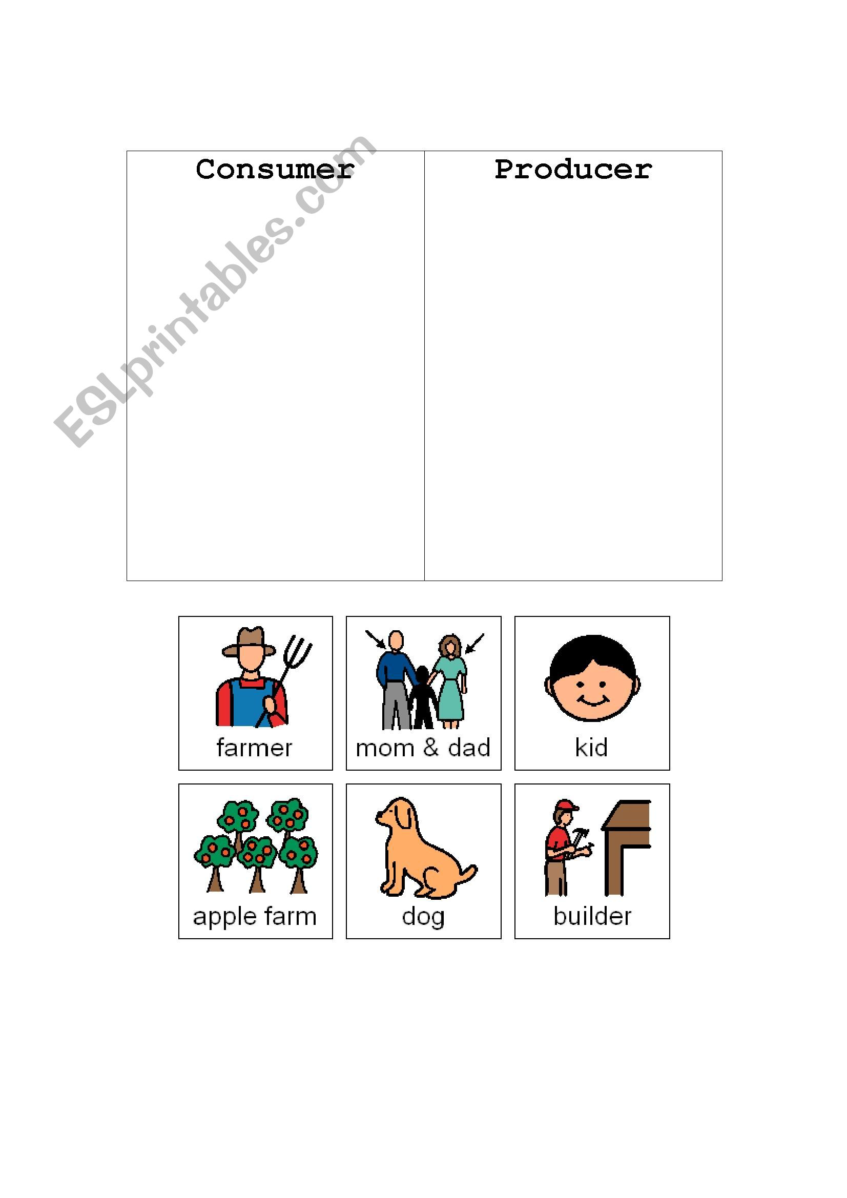 English Worksheets Consumer And Producer Sort
