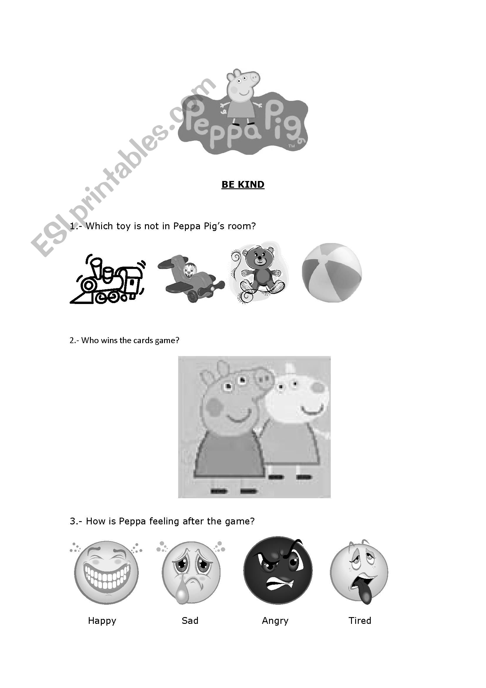English Worksheets Be Kind With Peppa Pig