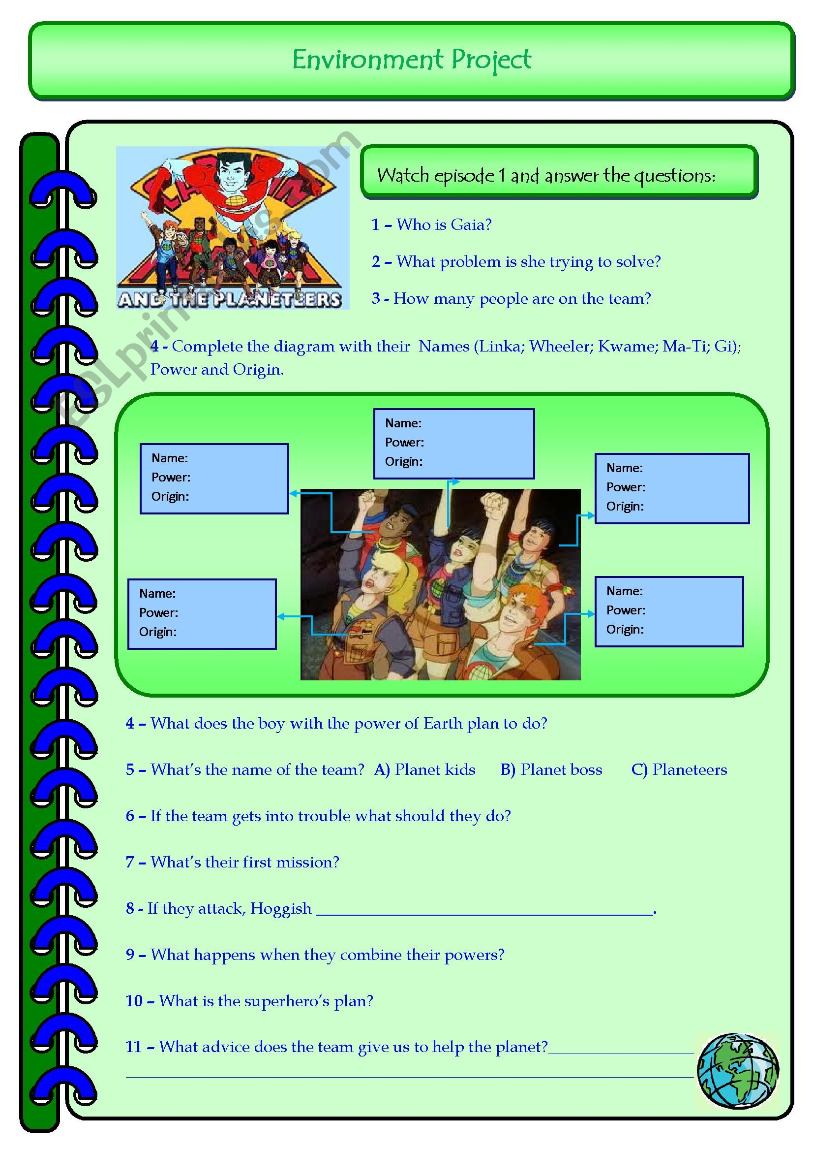 English Worksheets Captain Planet Episode 1