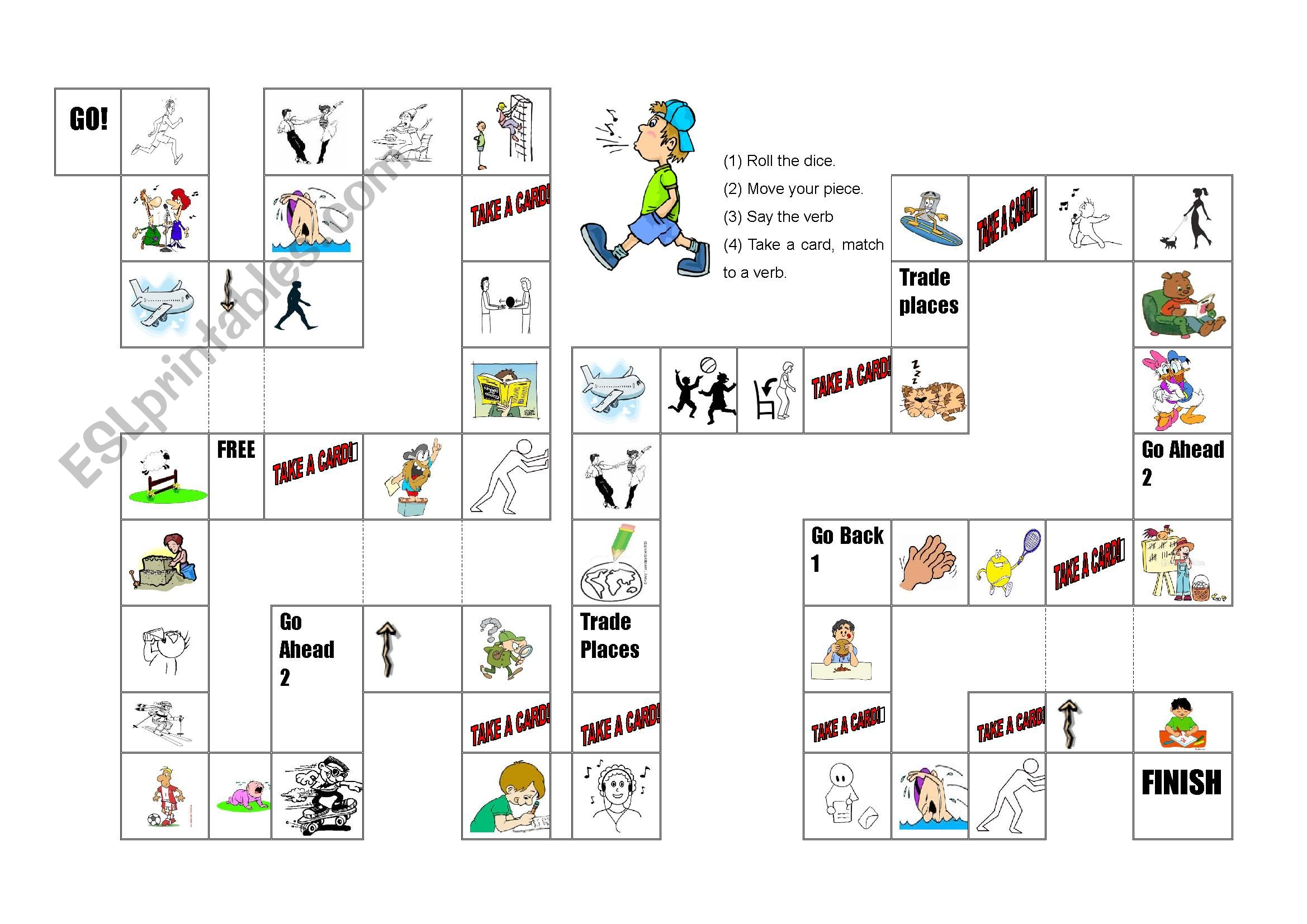 Action Verbs Board Game