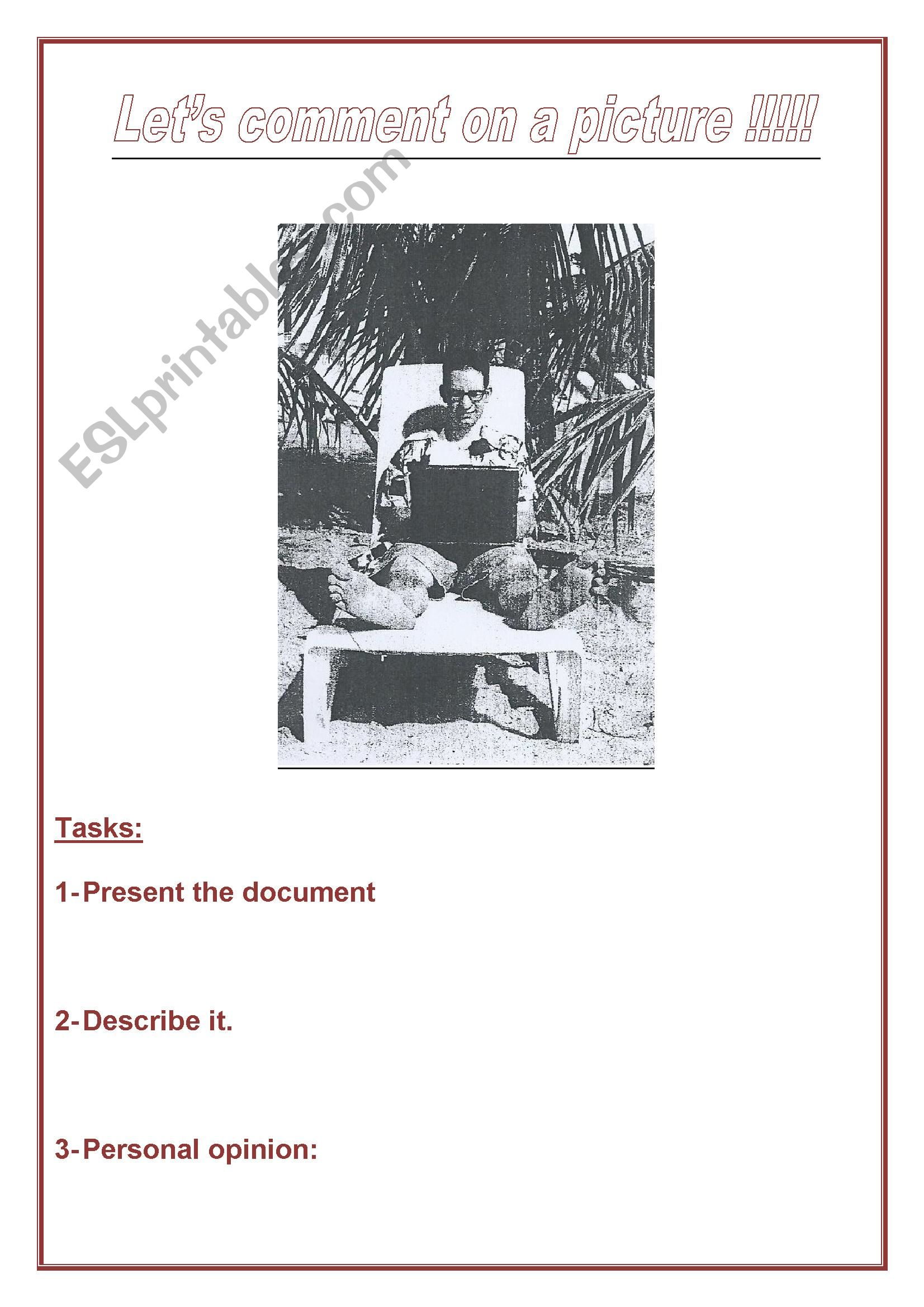 English Worksheets A Funny Picture To Describe