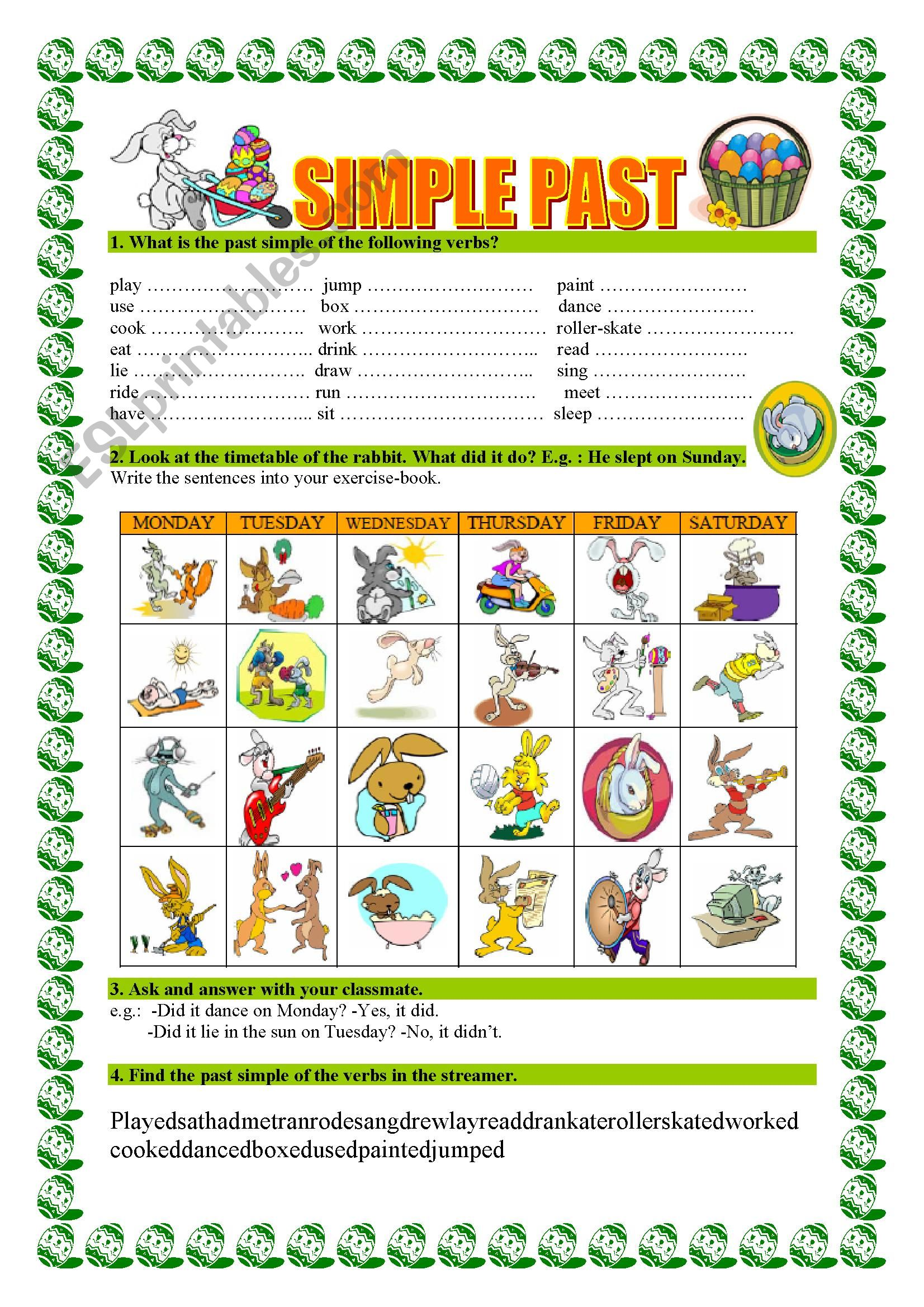 English Worksheets Past Simple
