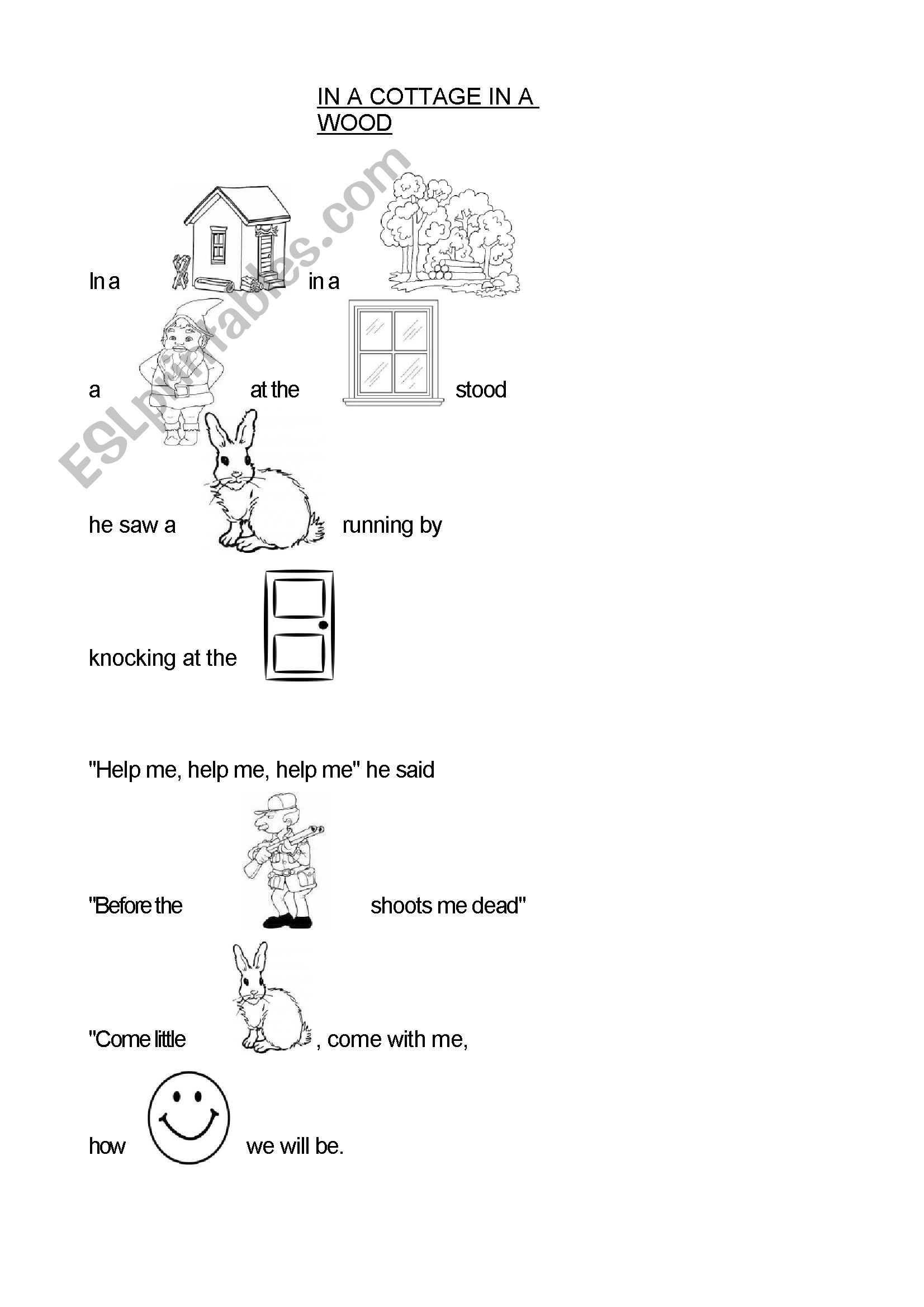 English Worksheets In A Cottage In A Wood