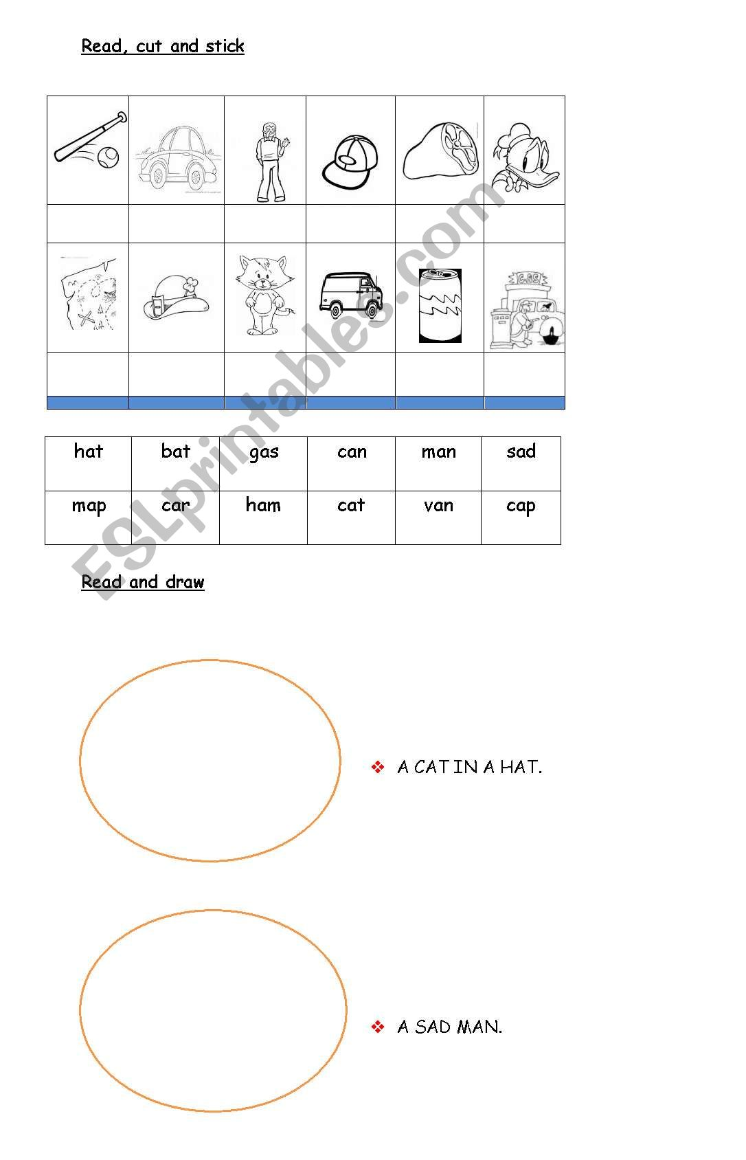 English Worksheets Three Letter Words Tching Word Drawing