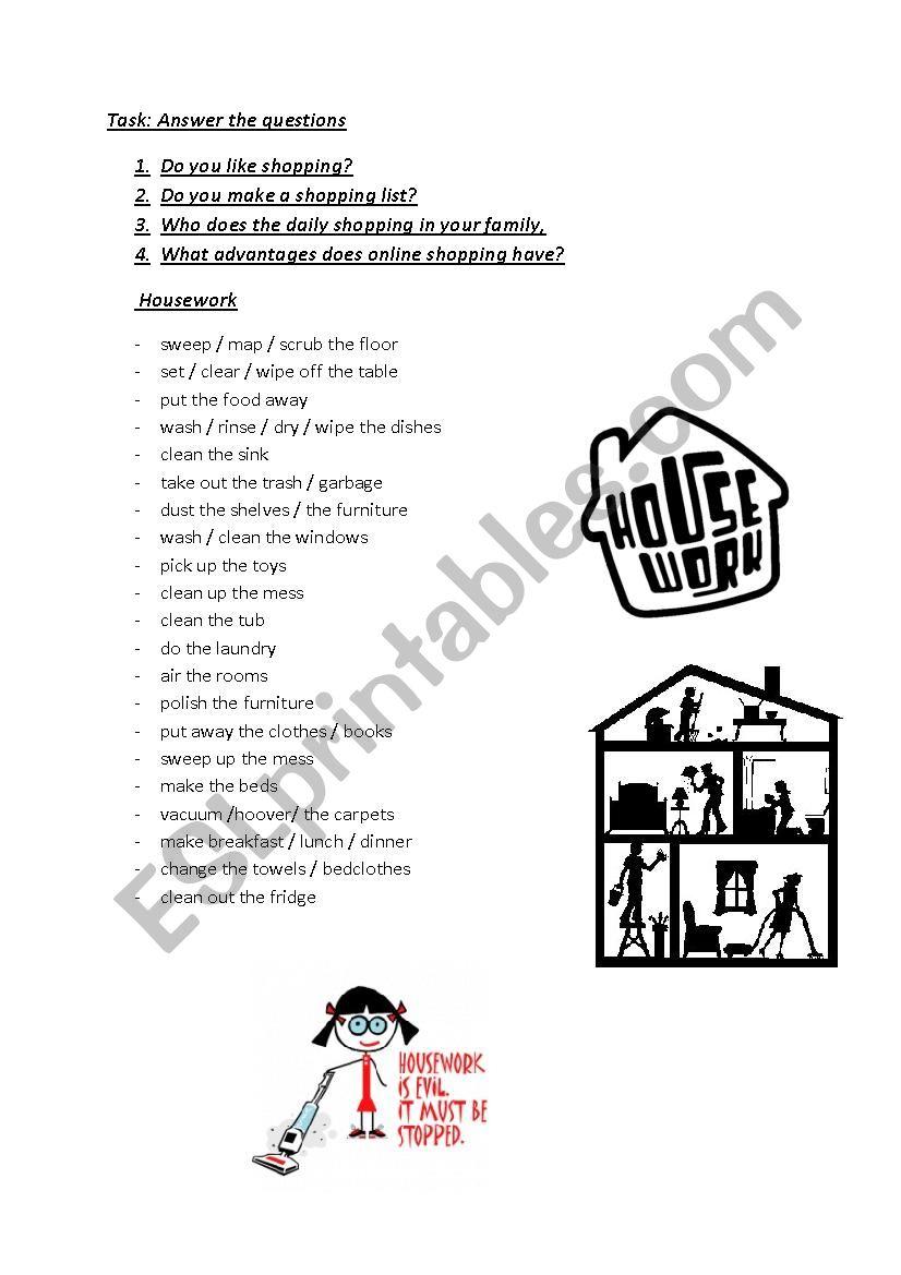 English Worksheets Housework