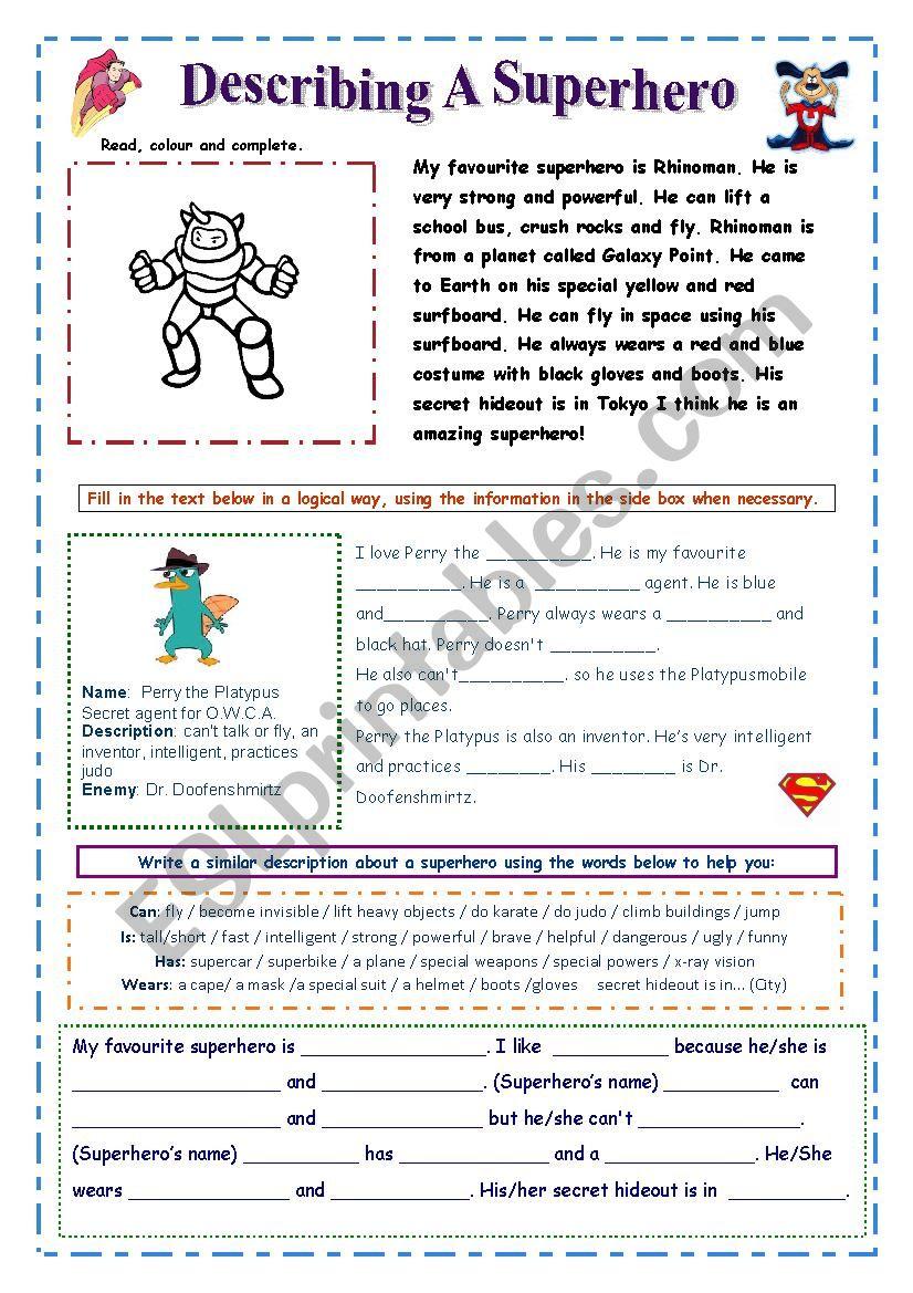 Describe A Superhero Easy